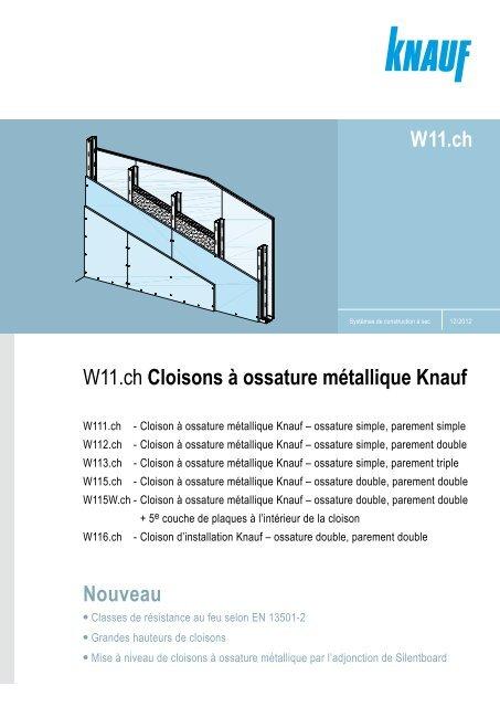 W11ch Cloisons ã Ossature Mãtallique Knauf Nouveau