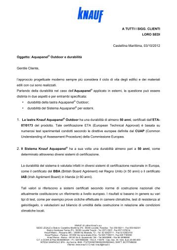 Aquapanel® Outdoor e durabilità Gentile Cliente, l - Knauf