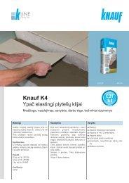 Knauf K4 elastingų plytelių klijų tech. instrukcijos (PDF / 569 KB)