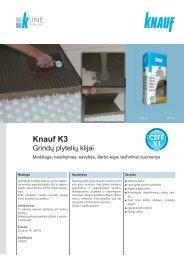 Knauf K3 grindų plytelių klijų tech. instrukcijos