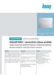 AQUAPANEL® cementinė vidaus plokštė - Knauf