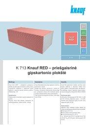 K 713 Knauf RED – priešgaisrinė gipskartonio plokštė