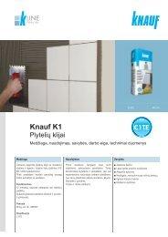 K1 plytelių klijų tech. instrukcijos (PDF / 562 KB) - Knauf