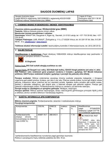 Knauf Klinkermortel saugos duomenų lapas