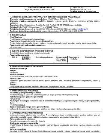 Kleber - & Boden-Elast - Saugos duomenų lapas