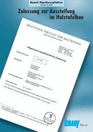 Zulassung zur Aussteifung im Holztafelbau - Knauf