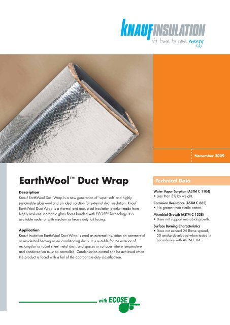 "EarthWoolâ""¢ Duct Wrap - Knauf Insulation New Zealand"