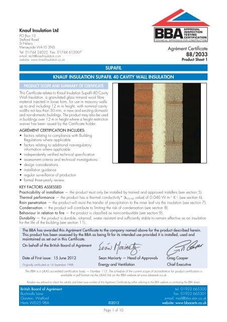 Knauf Insulation Supafil 40 Cavity Wall Insulation - Downs