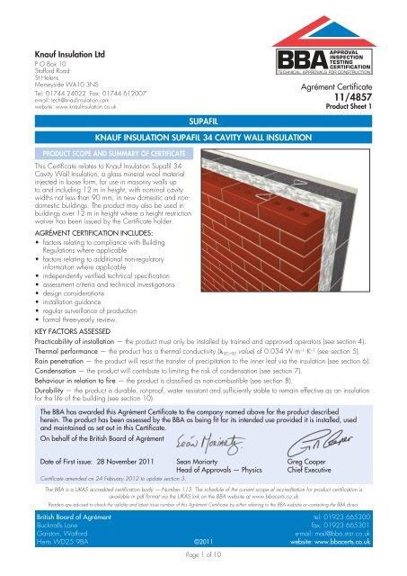 BBA Certificate 11/4857 Supafil Cavity Wall 34 - Knauf