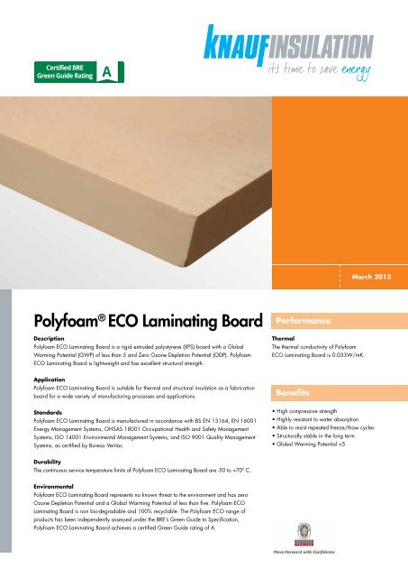 Polyfoam® ECO Laminating Board - Knauf Insulation