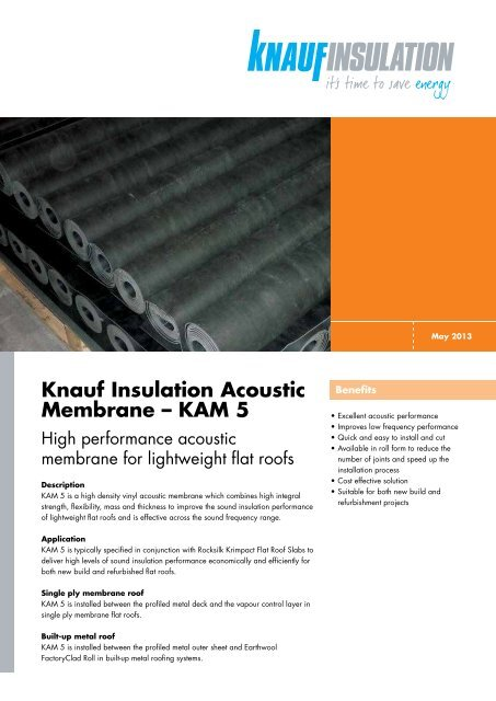Knauf Insulation Acoustic Membrane – KAM 5 - RIBA Product