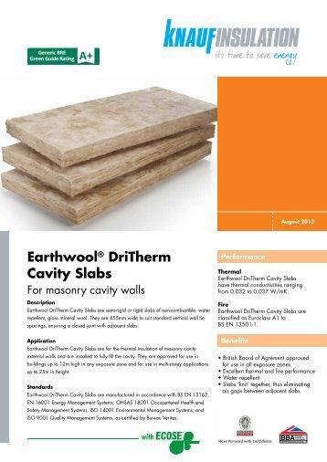 Earthwool® DriTherm Cavity Slabs - Knauf Insulation