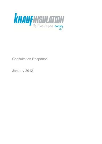Knauf Insulation Green Deal and ECO Consultation Response Jan ...