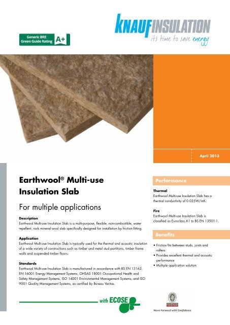 Earthwool® Multi-use Insulation Slab For multiple ... - Knauf Insulation