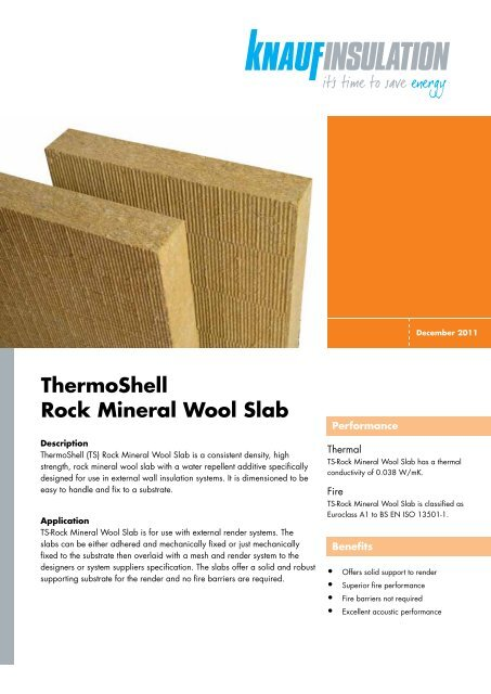 ThermoShell Rock Mineral Wool Slab - Knauf Insulation