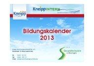 Bildungskalender 2013 - Kneipp-Bund Landesverband Thüringen eV