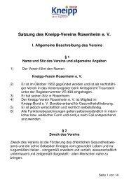 Satzung KV Rosenheim - Kneipp-Verein Rosenheim