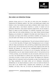 Das Leben von Sebastian Kneipp als pdf-Download