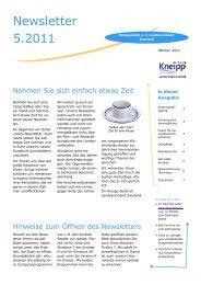 Newsletter 5.2011 - Kneipp Bund e.V. Landesverband