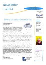Newsletter 1.2013 - Kneipp Bund e.V. Landesverband