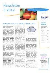 Newsletter 3.2012 - Kneipp Bund e.V. Landesverband