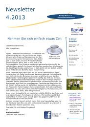 4. Newsletter 2013 - Kneipp Bund e.V. Landesverband