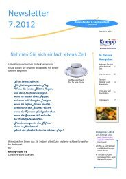Newsletter 7.2012 - Kneipp Bund e.V. Landesverband