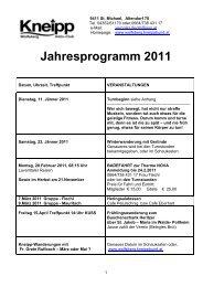 Jahresprogramm 2011 - Kneippbund