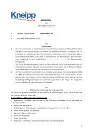 Statuten Kneipp-Aktiv-Club - Kneippbund