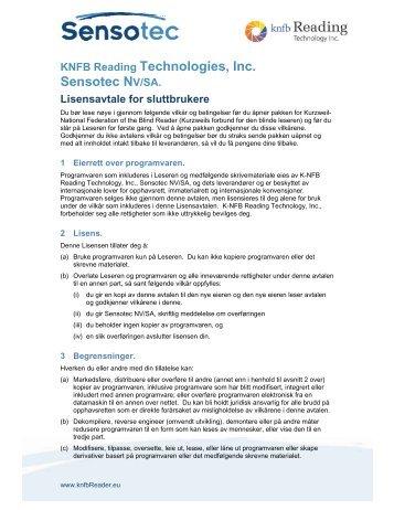 KNFB Reading Technologies, Inc. Sensotec NV/SA. - KNFB Reader