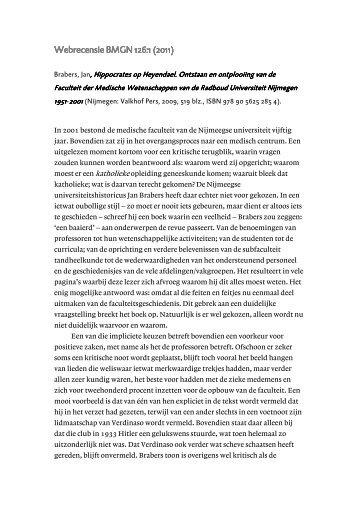 Brabers, J., Hippocrates op Heyendael. Ontstaan en ontplooiing van ...