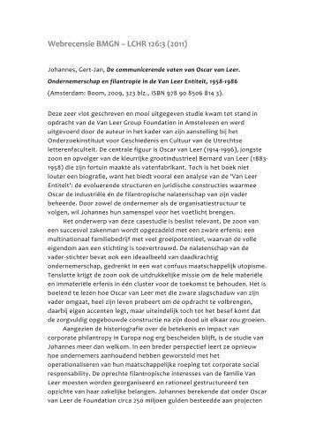 Johannes, G.-J., De communicerende vaten van Oscar van Leer ...