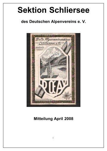 Bericht des 1. Vorsitzenden der DAV- Sektion Schliersee