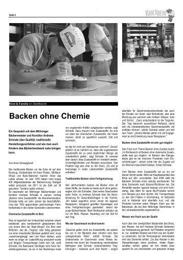 Schrade: Backen ohne Chemie - Knickbein