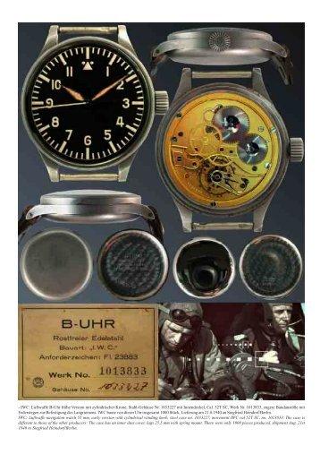 - IWC: Luftwaffe B-Uhr frühe Version mit zylindrischer Krone, Stahl ...