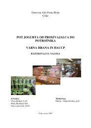 pot jogurta od proizvajalca do potrošnika varna hrana in haccp