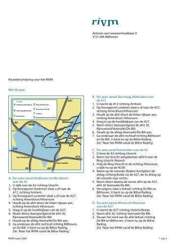 Routebeschrijving voor het RIVM Antonie van ... - Knmi
