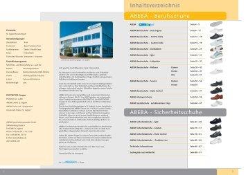 ABEBA - Berufsschuhe ABEBA - Sicherheitsschuhe Inhaltsverzeichnis