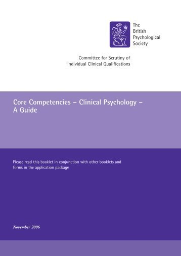 Core Competencies – Clinical Psychology – A Guide