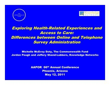 Exploring Health-Related Experiences and Access to Care ...