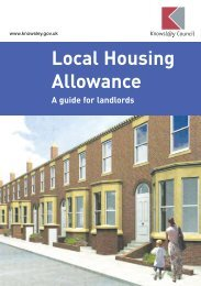 Local Housing Allowance guide for landlords - Knowsley Council