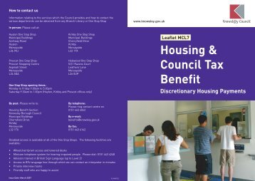 Leaflet MCL7 Housing & Council Tax Benefit ... - Knowsley Council