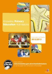 Knowsley Primary Education Admissions - Knowsley Council