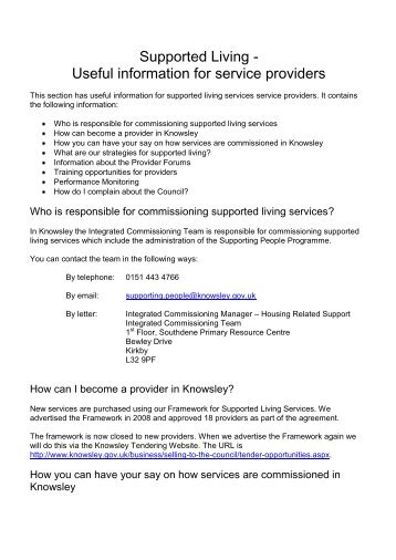 Supported Living - Knowsley Council