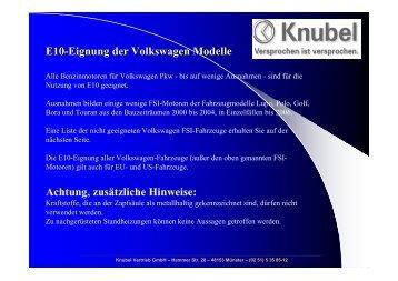 E10-Eignung der Volkswagen Modelle Achtung ... - Knubel