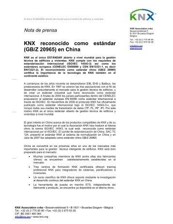 KNX reconocido como estándar (GB/Z 20965) en China