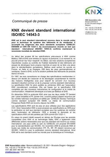 Communiqué de presse - KNX