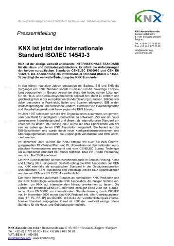 KNX ist jetzt der internationale Standard ISO/IEC 14543-3