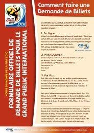 Formulaire o FFiciel de d emande de Billets pour le ... - FIFA.com