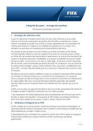 Intégrité du sport – trucage de matches - Informations ... - FIFA.com
